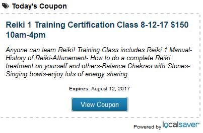 Discount Coupon for Reiki 1 Certification Class Las Vegas by Anne Penman Reiki